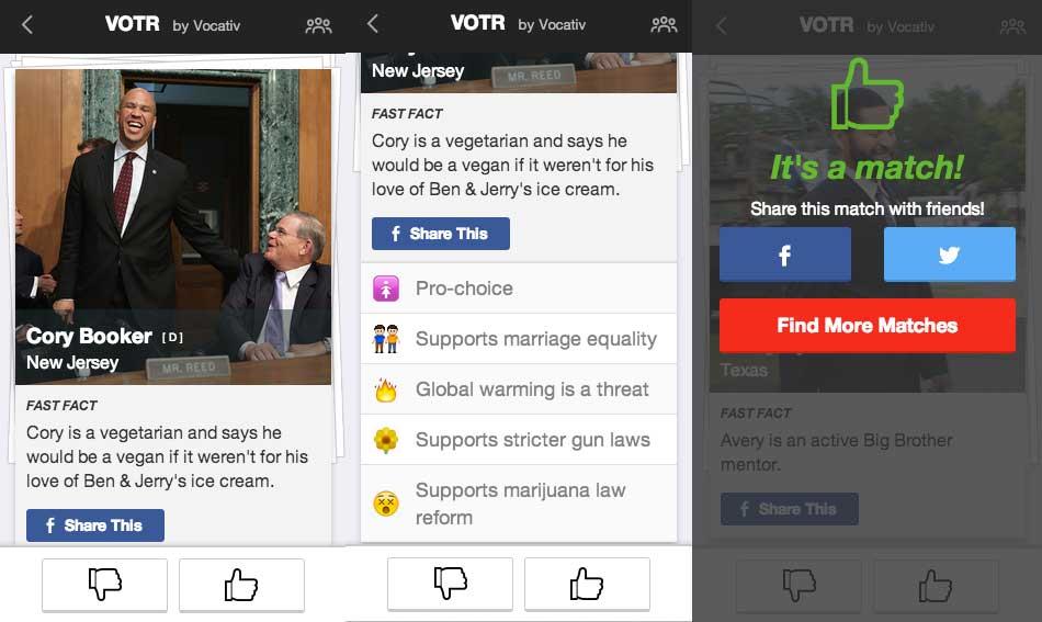 Screenshots from Votr. Left: First half of a candidate profile. Middle: Second half of a candidate profile. Third: Match screen.
