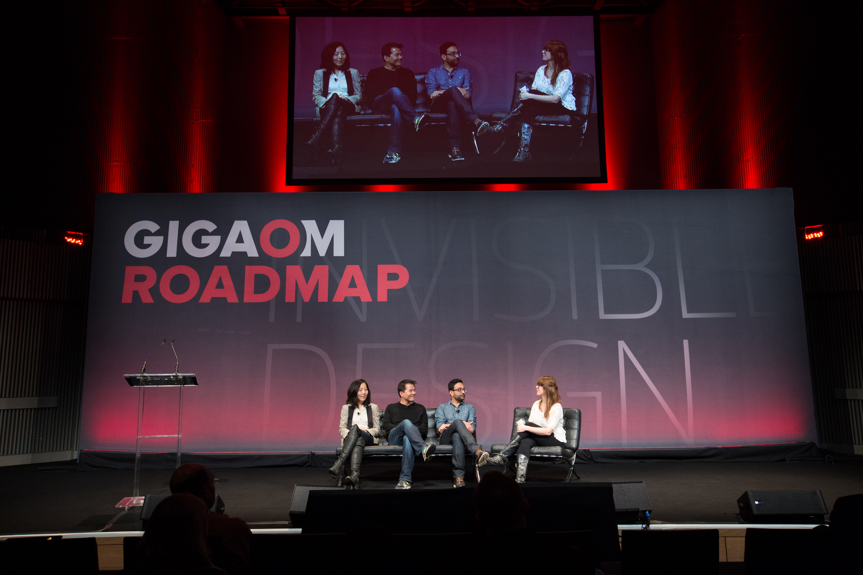 Julie Zhou, Head of Design, Facebook; Mark Kawano, Co-Founder and CEO, Storehouse; Shalin Amin, Creative Director, Uber