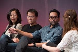 Julie Zhou, Head of Design, Facebook; Mark Kawano, Co-Founder and CEO, Storehouse; Shalin Amin, Creative Director, Uber