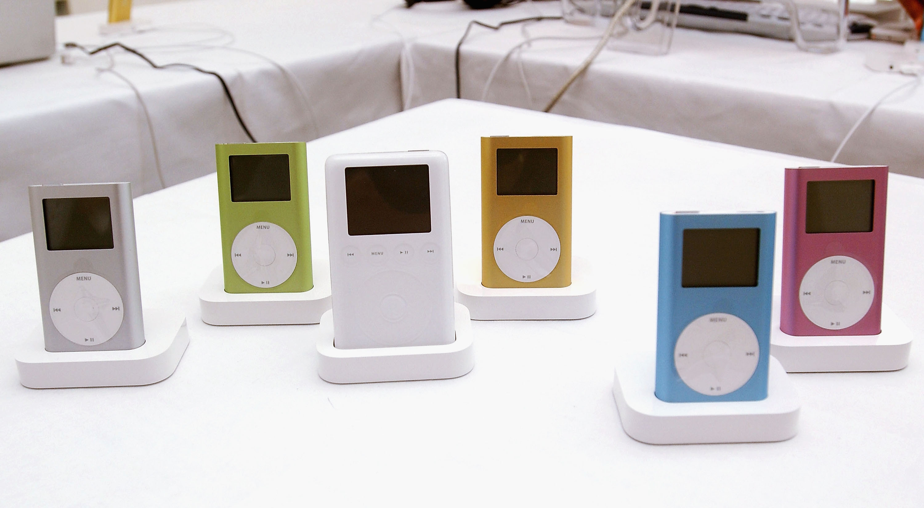 Apple iPods are displayed at the new  Apple iPod Mini press launch on July 16, 2004 in London.