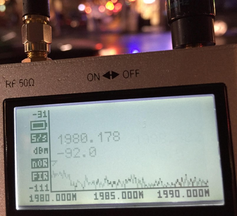 A spectrum analyzer shows LTE signals in portion of the 1900 MHz PCS band that formerly contained CDMA EV-DO.