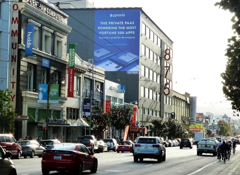 Apprenda billboard on Pivotal's SF building