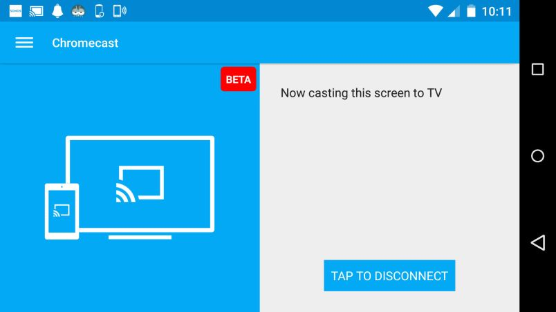 You can enable screen casting in the Chromecast app for Android.