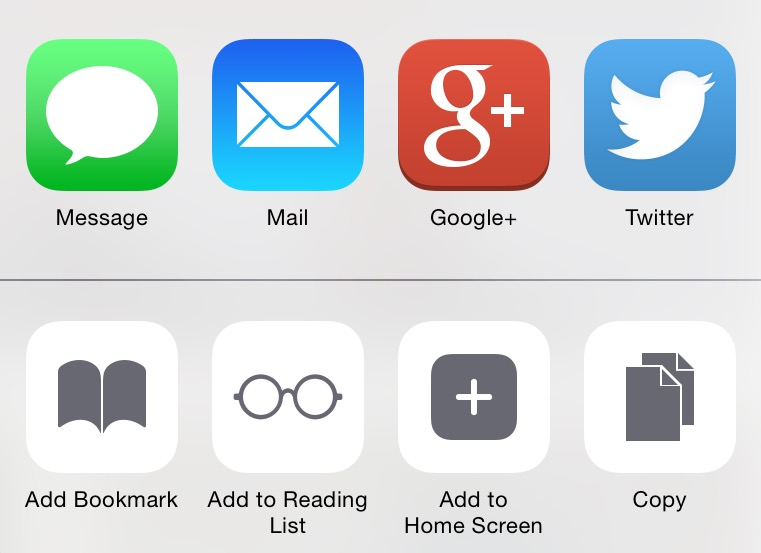Google+ in iOS sharing