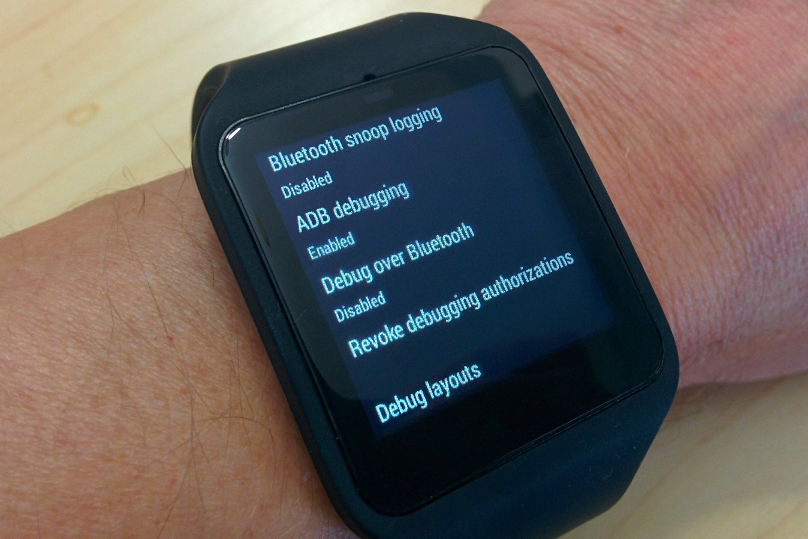 Android Wear dev options menu