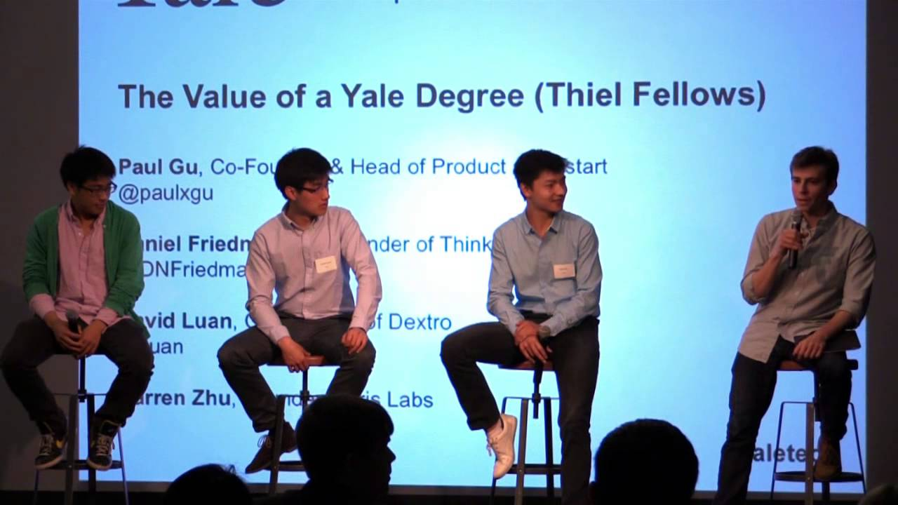 David Luan (second from left) speaking at a Yale event.