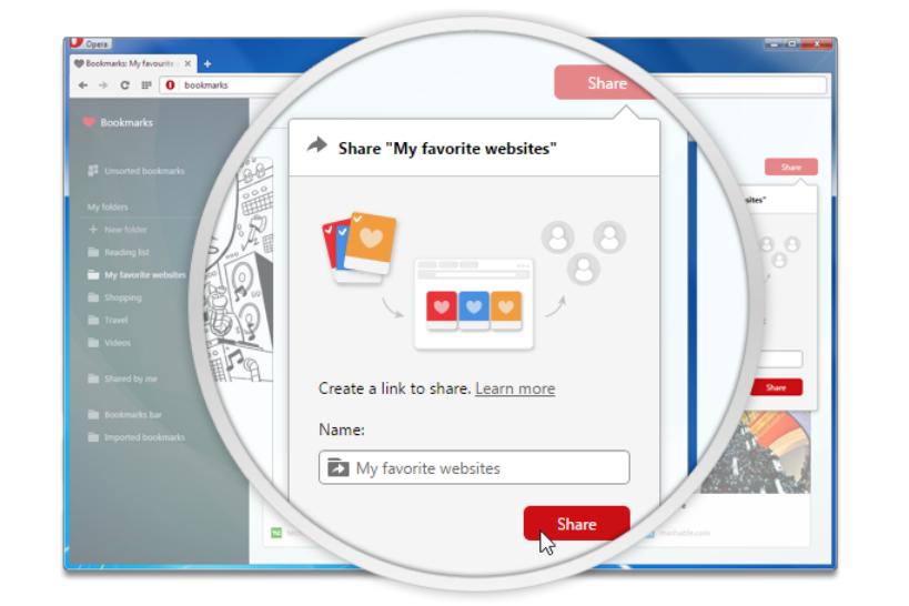 Opera bookmark sharing