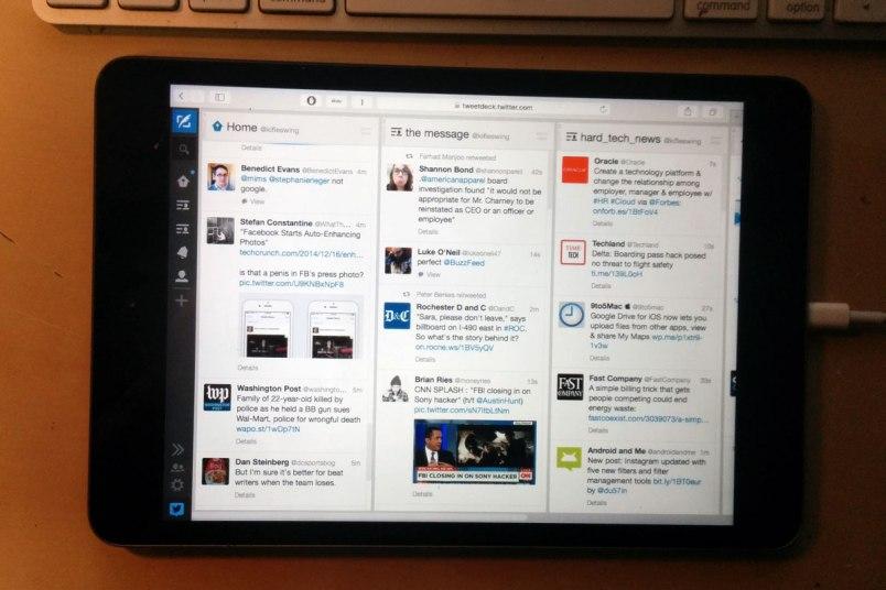 A Mac running Safari displaying TweetDeck on an iPad Mini with Retina Display through Duet Display
