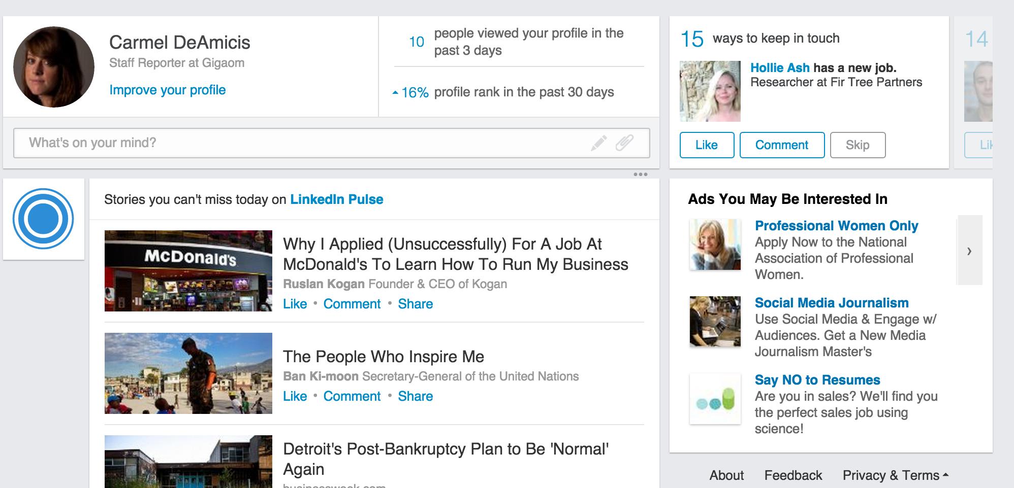 New LinkedIn homepage design