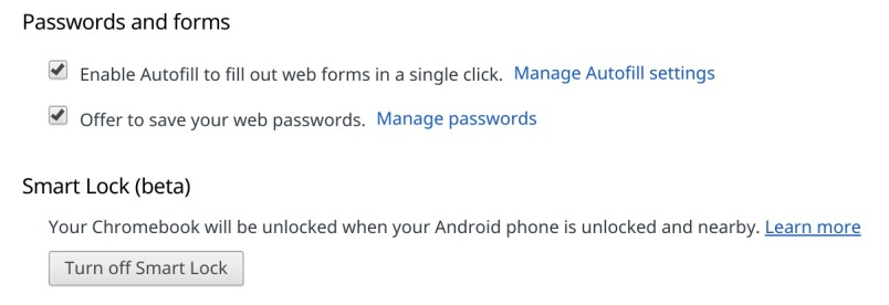Smart lock Chrome OS settings