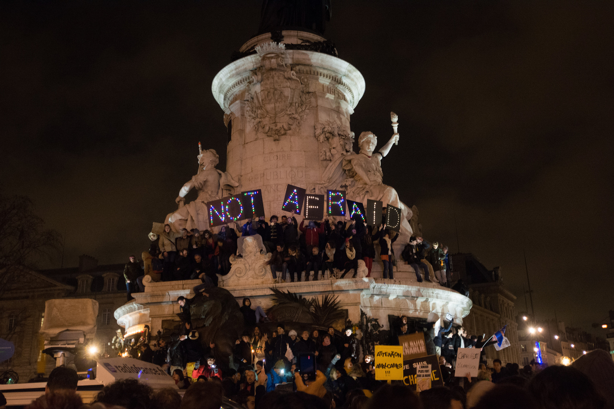 Charlie Hebdo memorial protest, Paris, January 7th, 2015