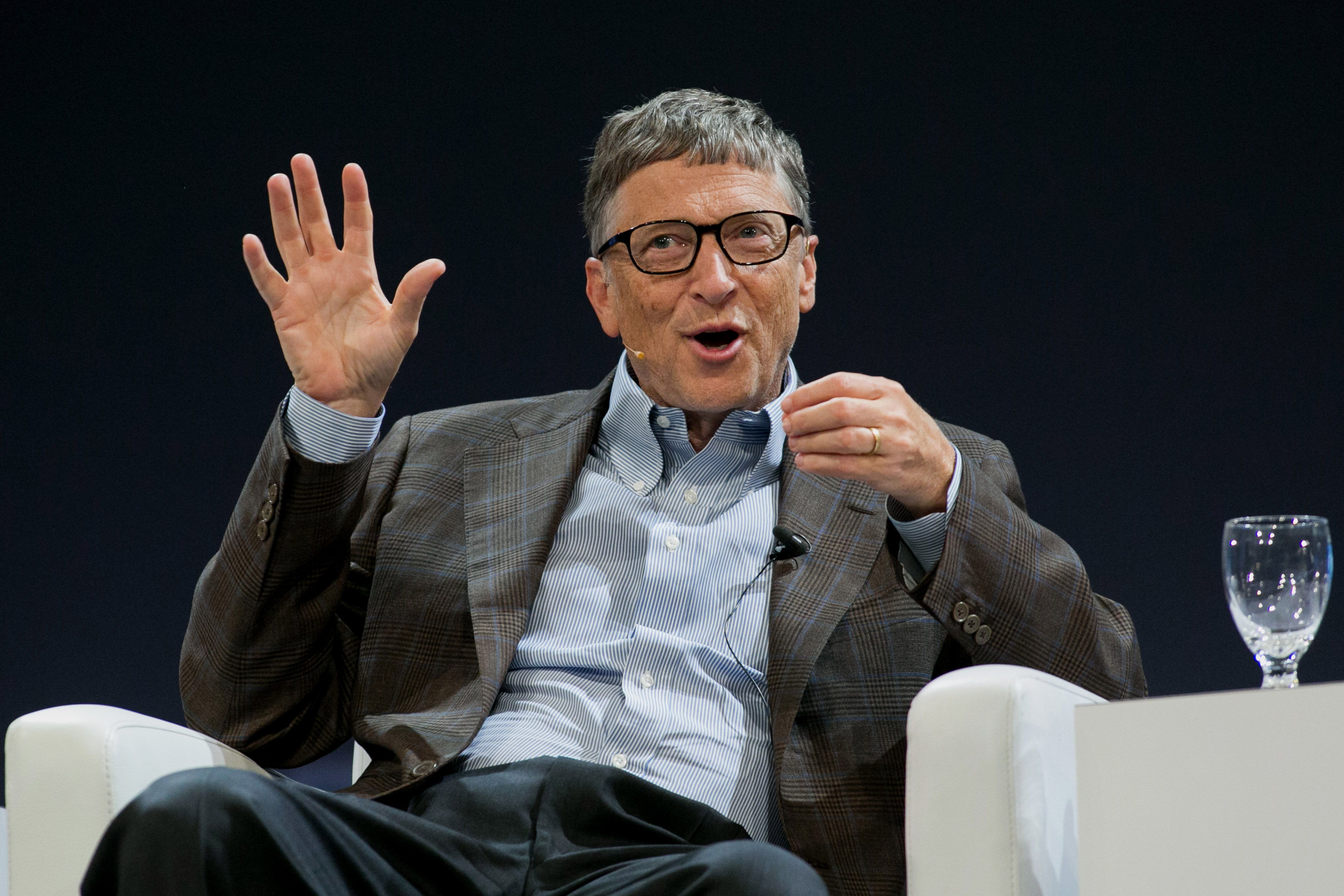 Bill Gates speaks during the Sibos financial services conference in Boston  on  Oct. 2, 2014.