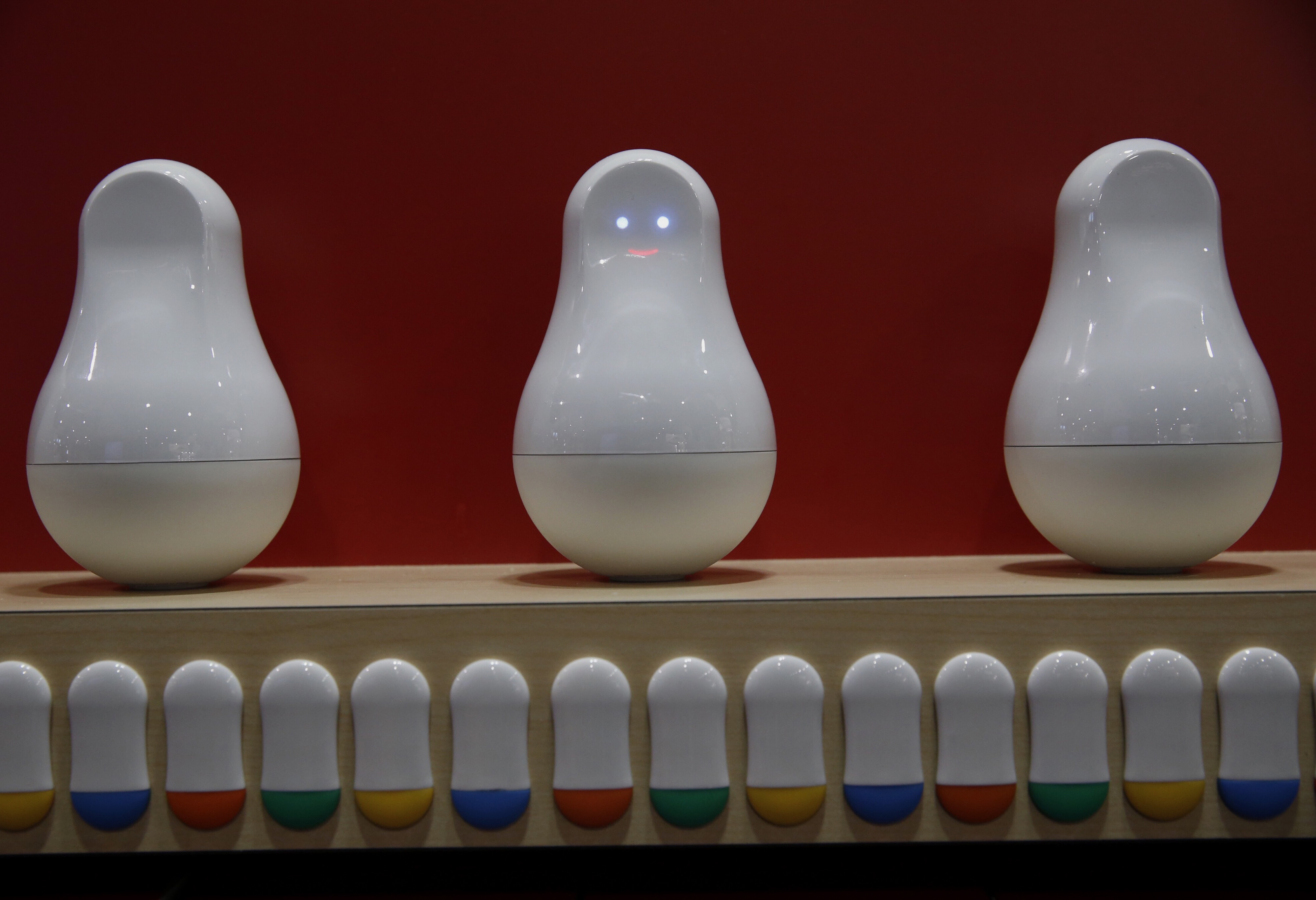 Mother smart home solution glows on a shelf during CES on Jan. 6, 2015.
