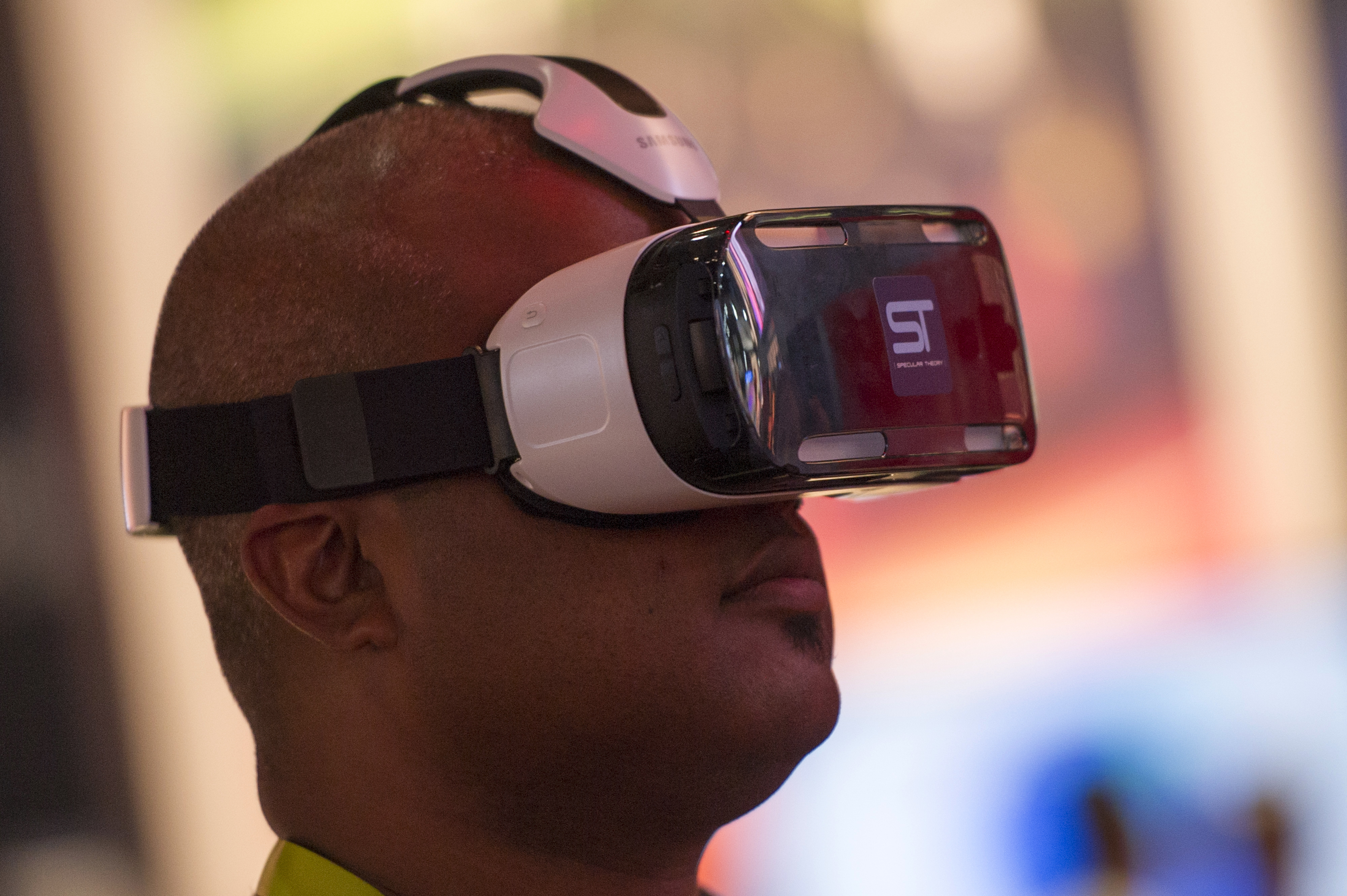 An attendee tries out a Samsung Gear VR headset during the 2015 Consumer Electronics Show (CES) on Jan. 6, 2015.