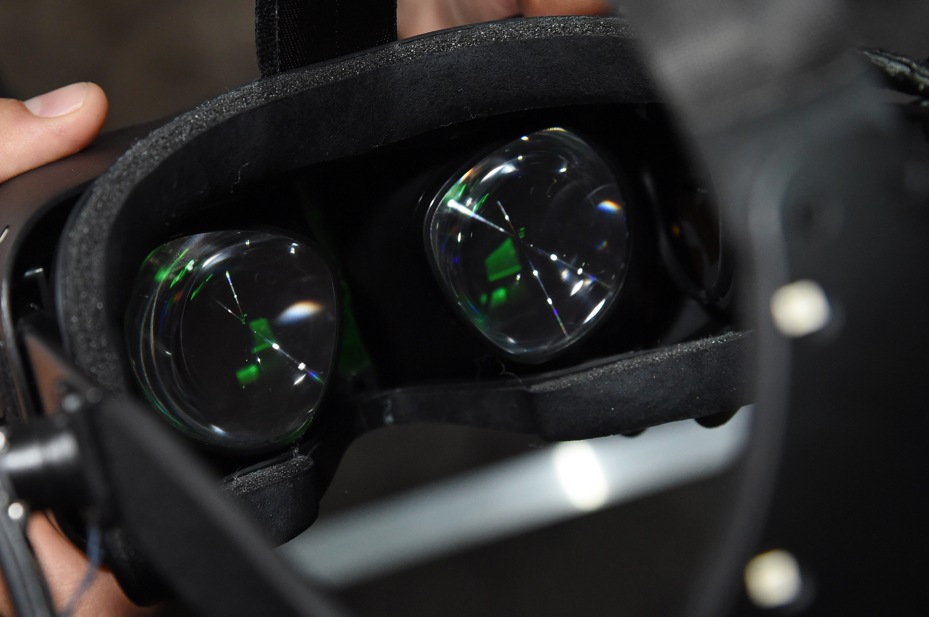 The Oculus VR Crescent Bay Headset prototype is displayed at the 2015 International CES on January 8, 2015.