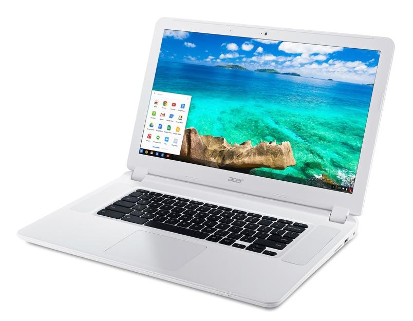 Acer Chromebook 15 (CB5-571) white-front up left angle start bar