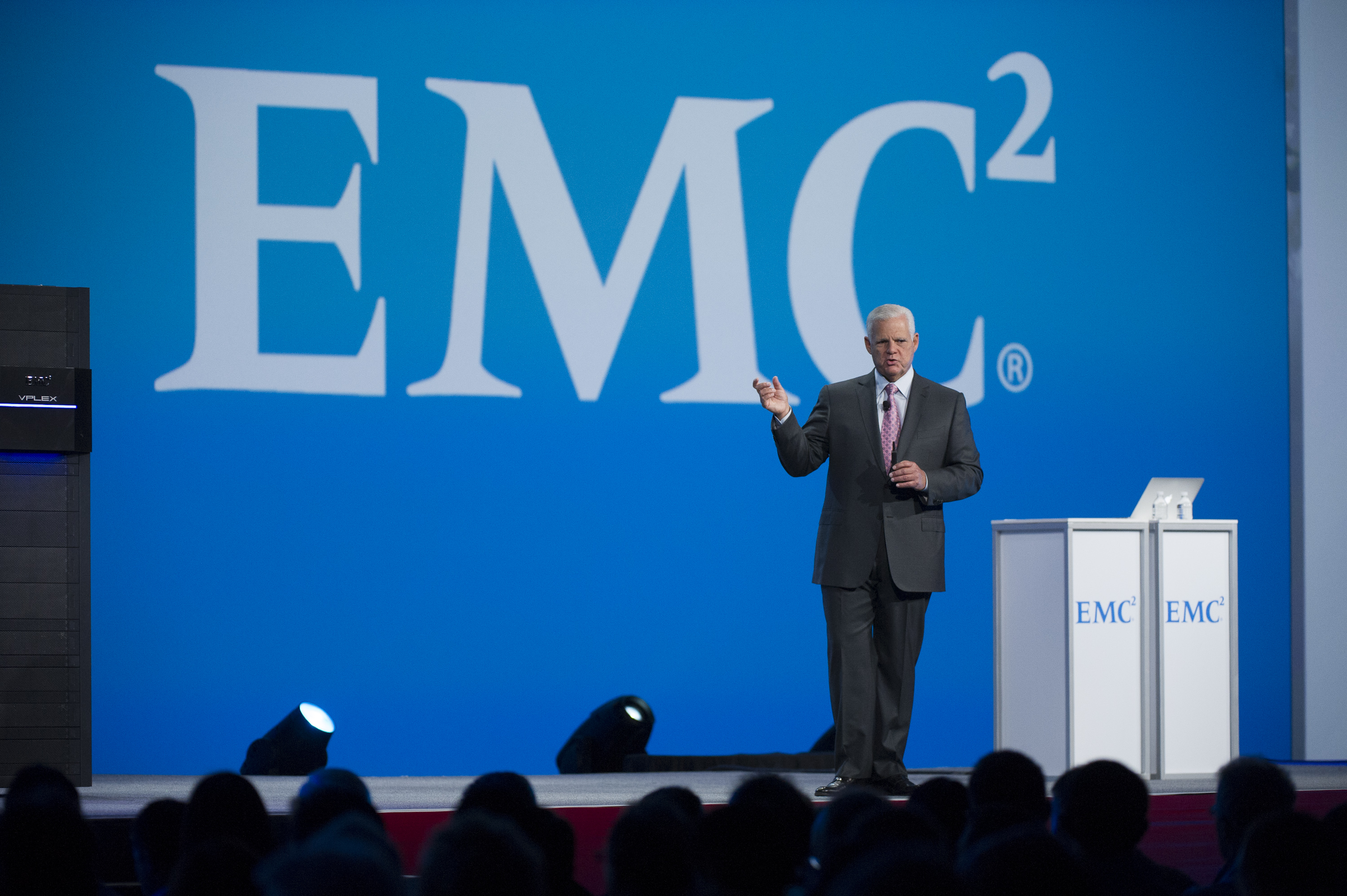 Joe Tucci, chairman of the board of directors and CEO of EMC Corp., speaks during the Oracle OpenWorld 2013 conference.