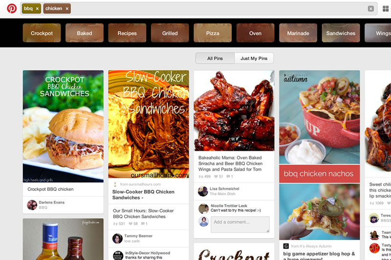 Pinterest's guided search feature