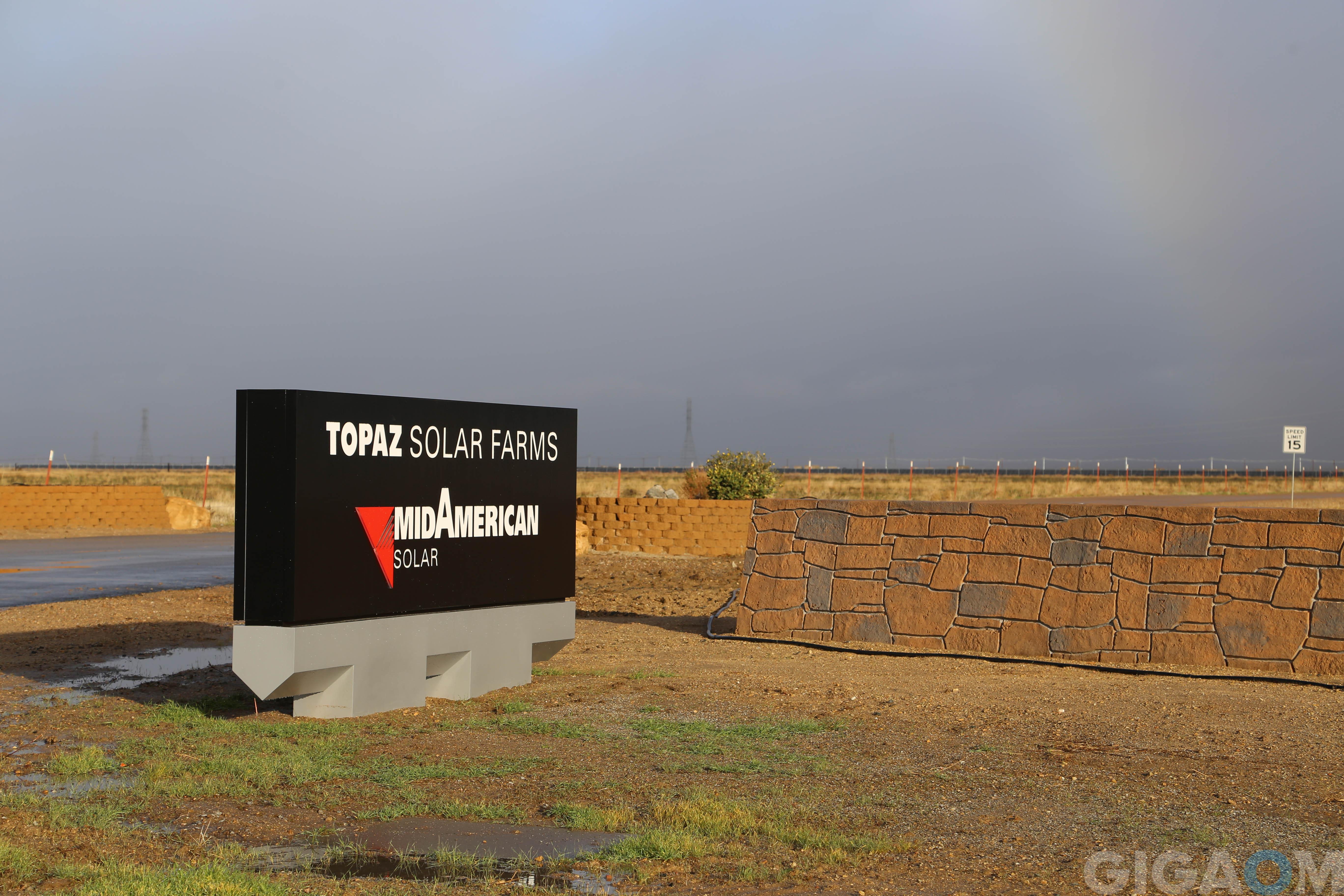 A sign for an entrance to the Topaz solar farm.