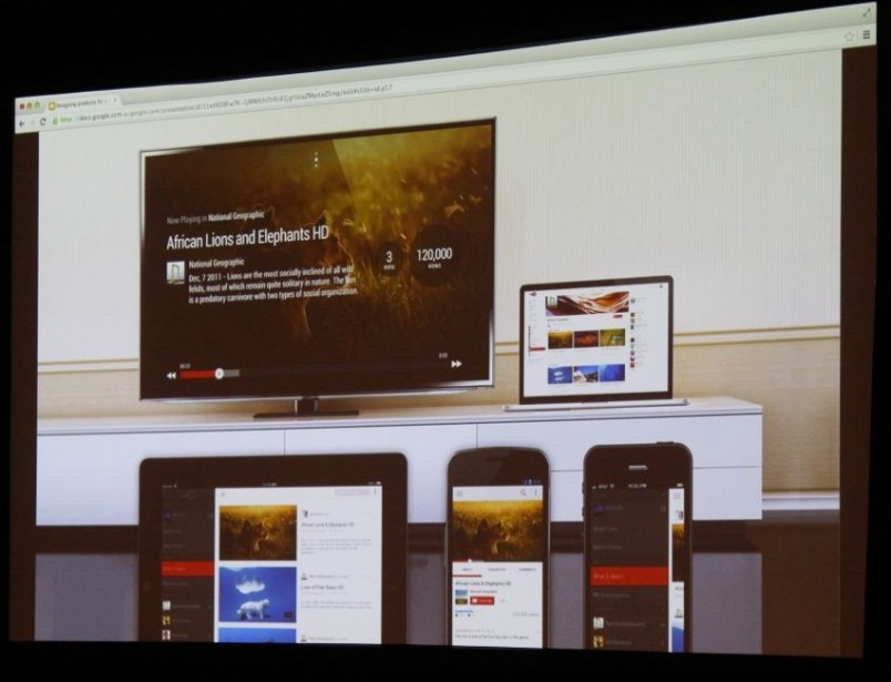 A design exploration of YouTube's TV app next to apps on other platforms, as shown off at Google I/0 2013.