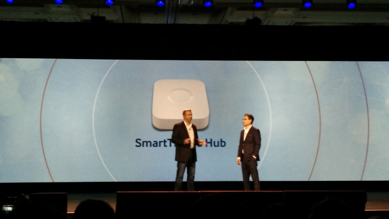 Alex Hawkinson and BK Yoon onstage at CES