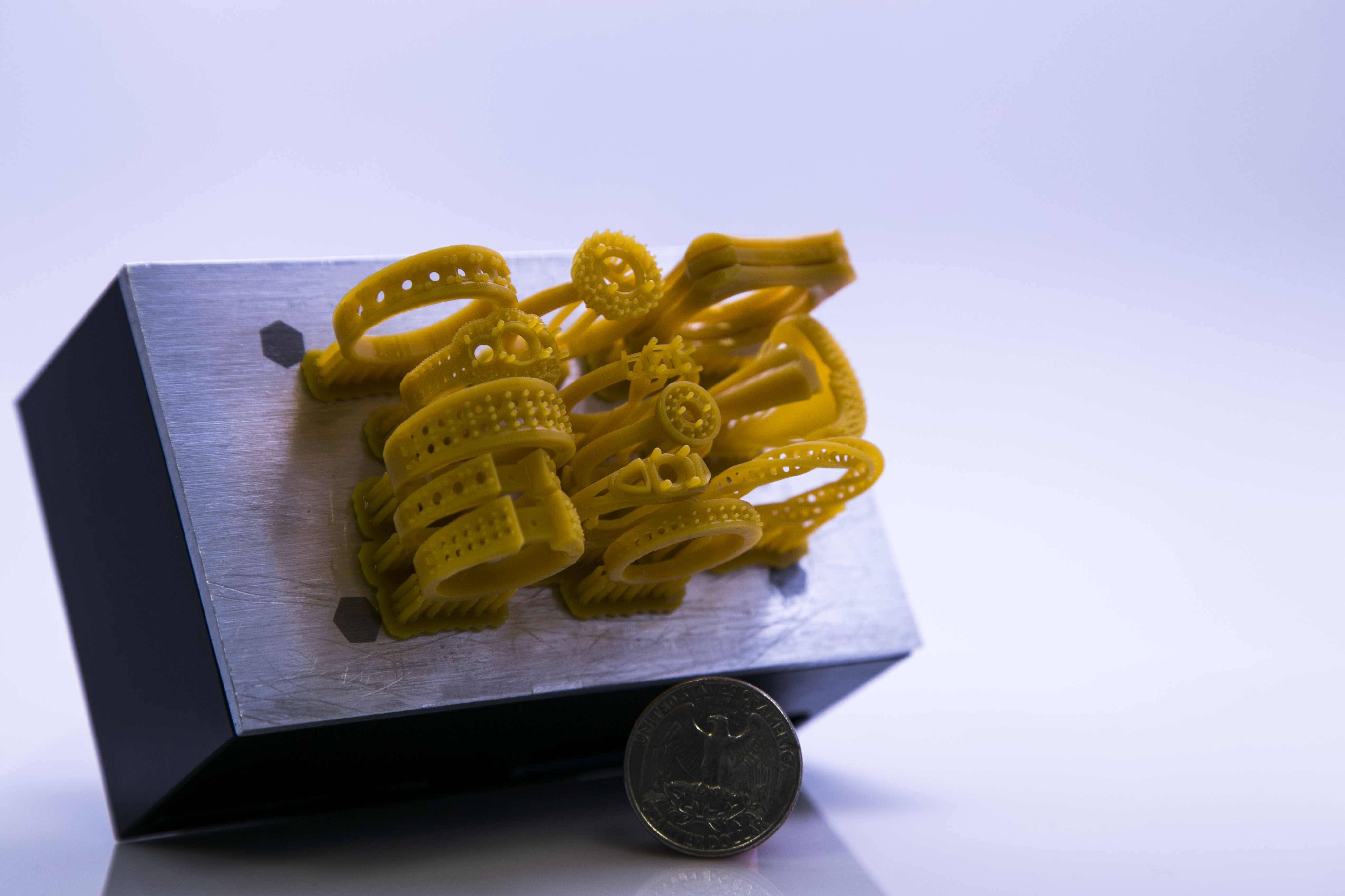 3D printed objects on the Pro's bed.