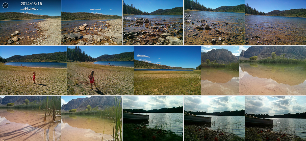 "A sample of the results when I search my Google+ photos for ""lake."""