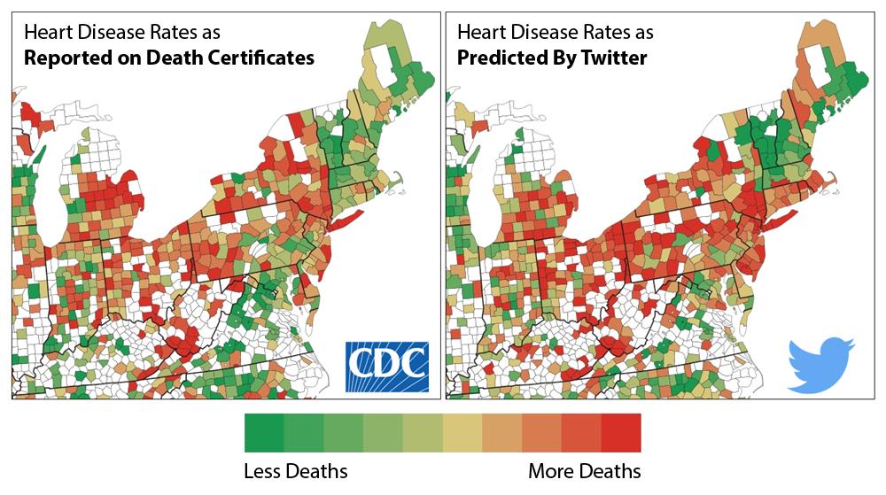 корреляция грустных твитов со смертями от сердечно-сосудистых заболеваний