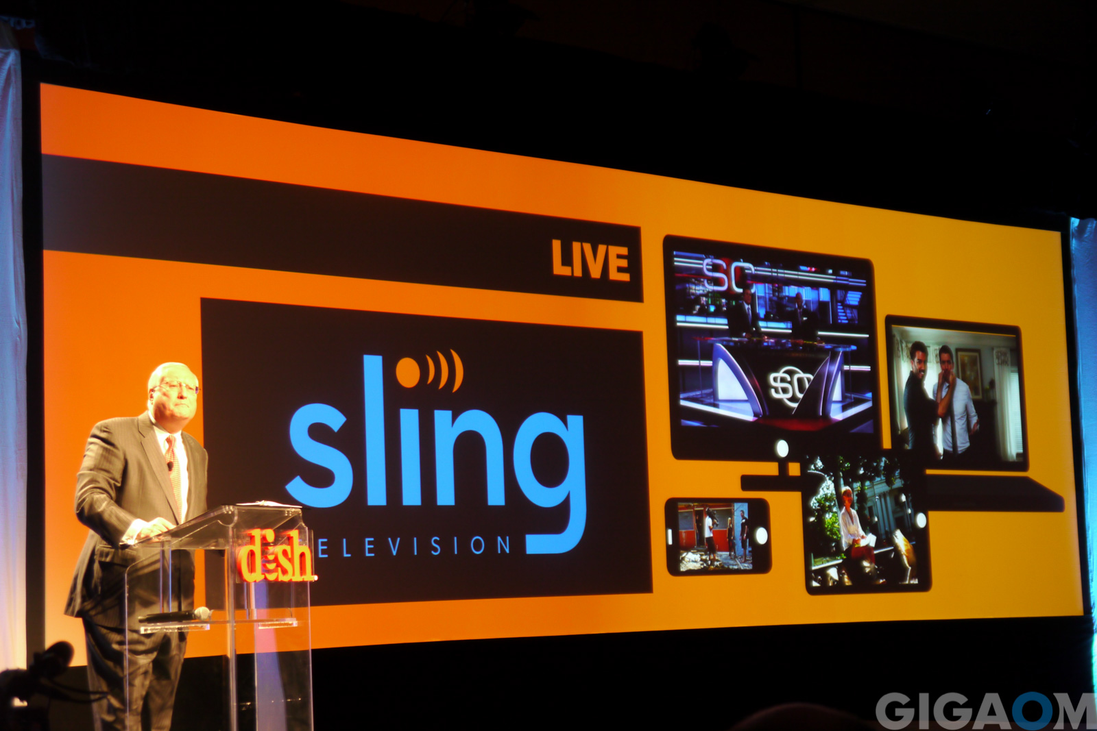 Dish CEO Joseph P. Clayton announcing Sling TV at CES