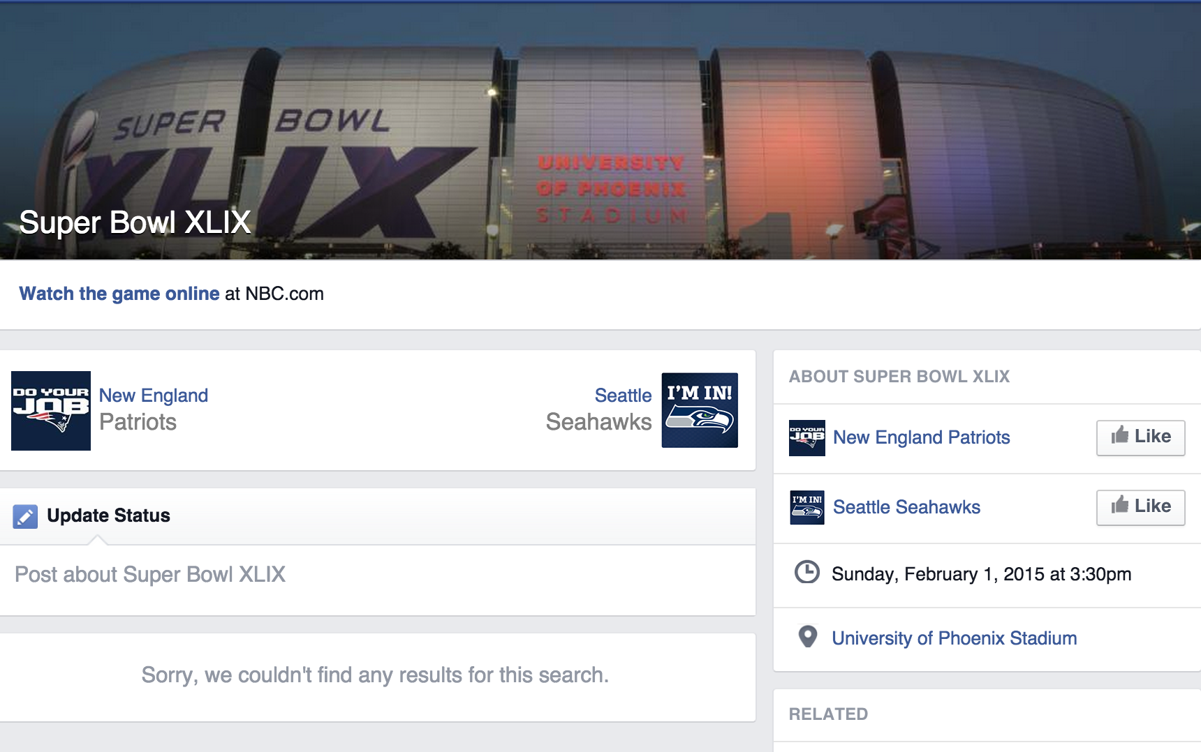 A screenshot of Facebook's Superbowl hub on Wednesday, January 28th