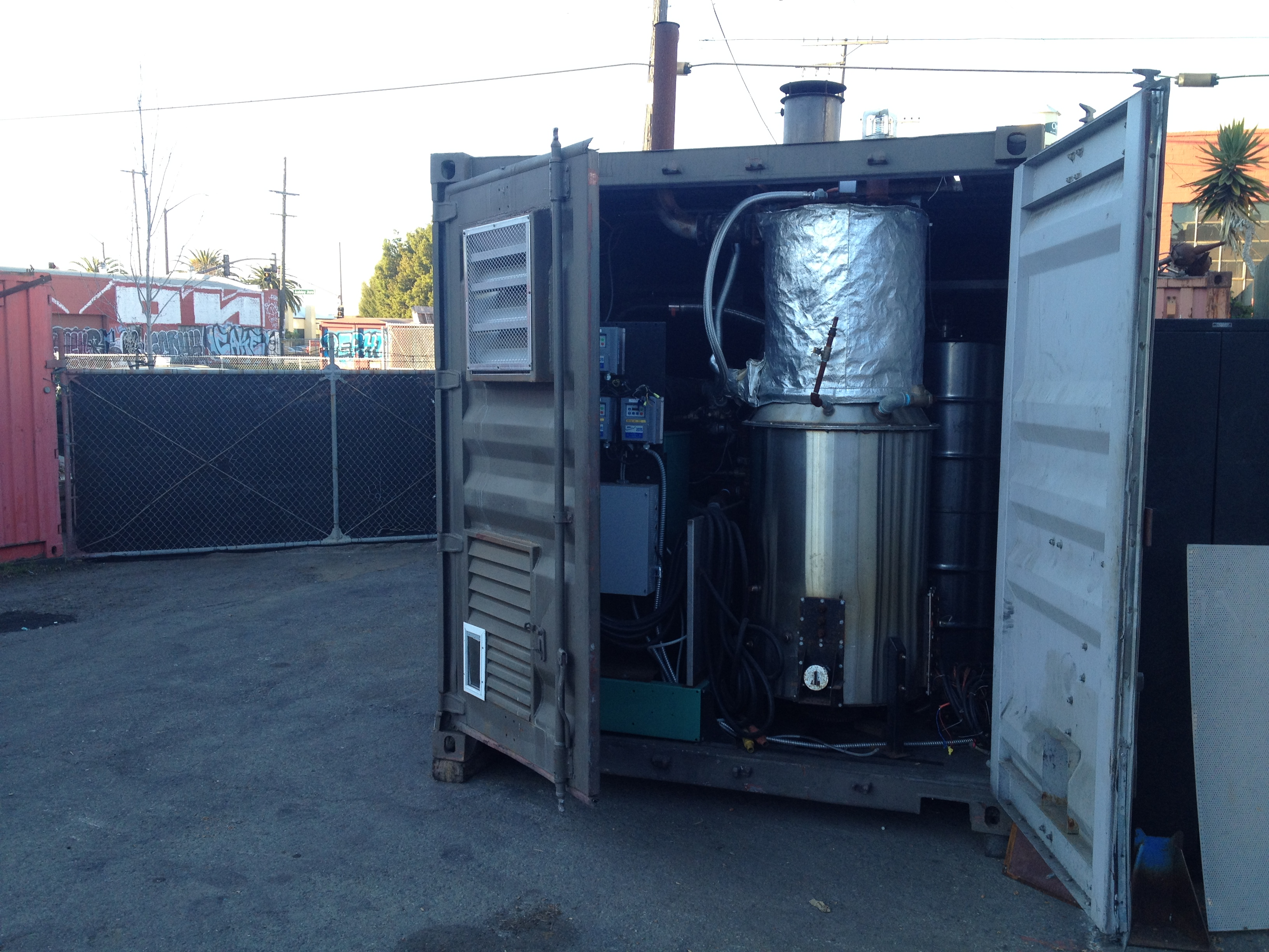 All Power Labs' latest gasifier is large enough to fit in a shipping container, and the company is using a grant from the CEC to finish work on it.