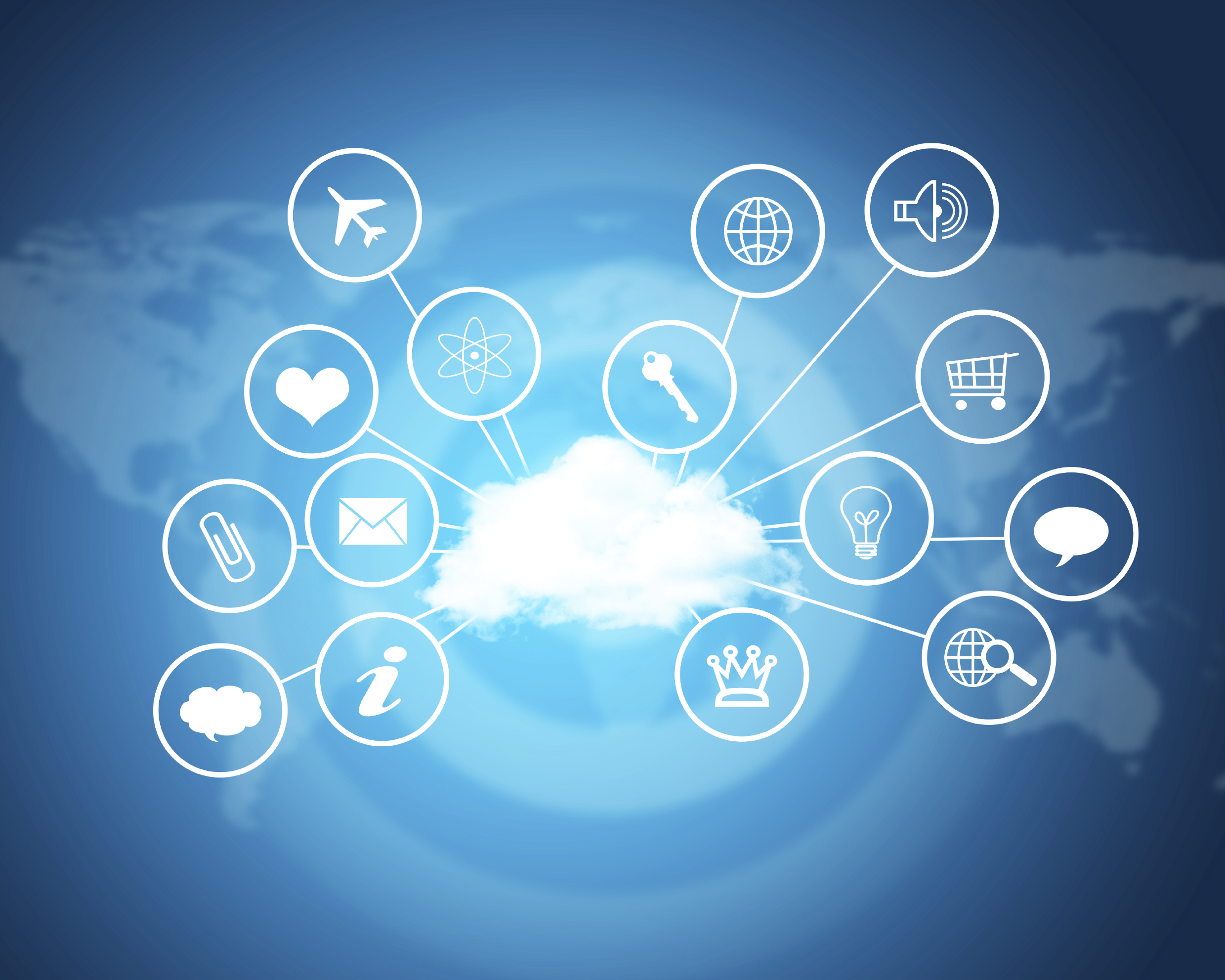 Cloud with computer icons. Technology concept