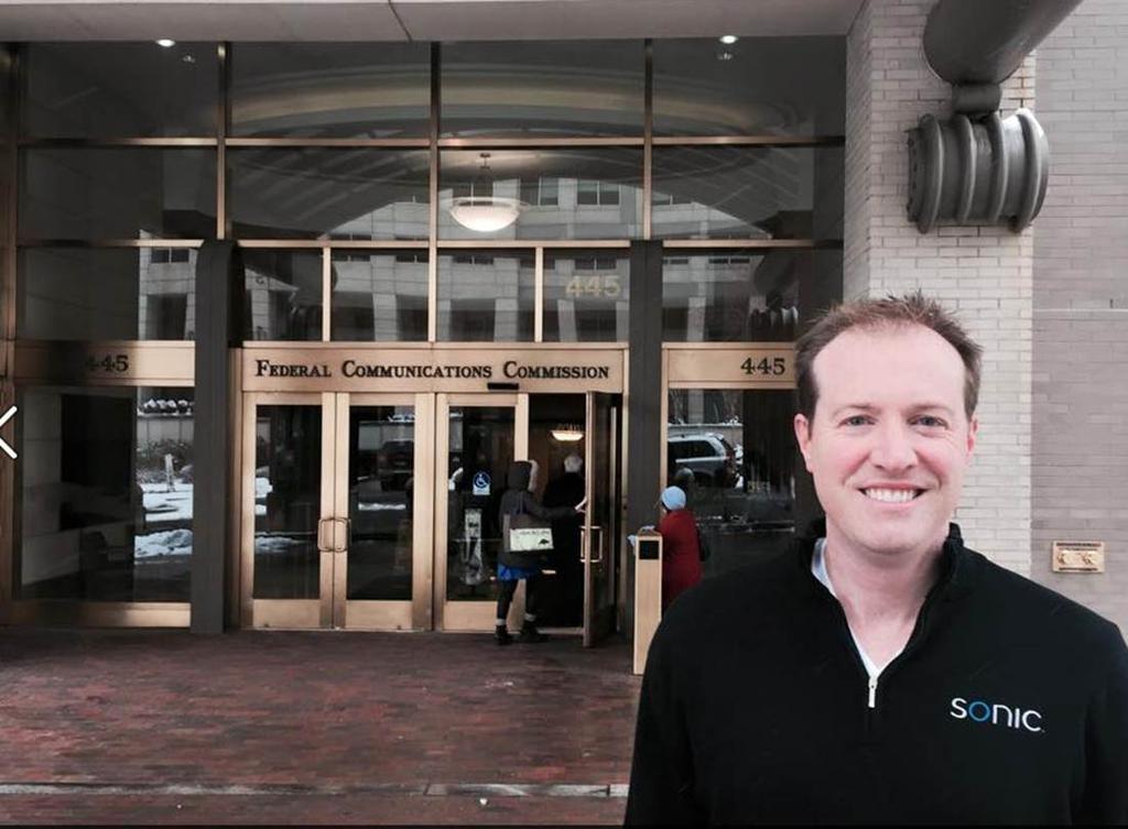 Sonic CEO Dane Jasper on Feb. 26 in front of the FCC.