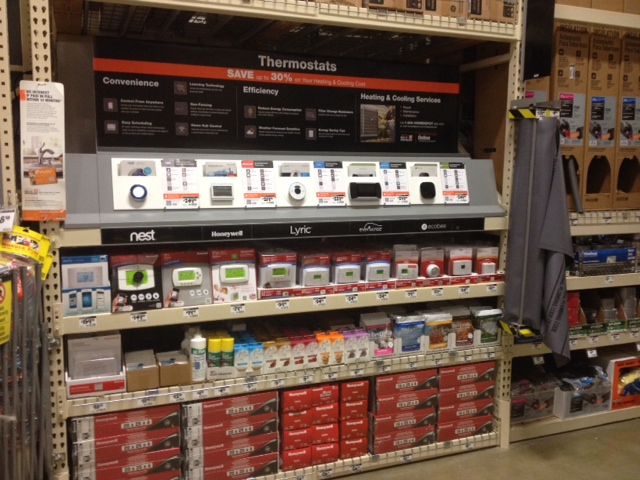 The new Home Depot thermostat aisle (Ecobee is on the far right.)