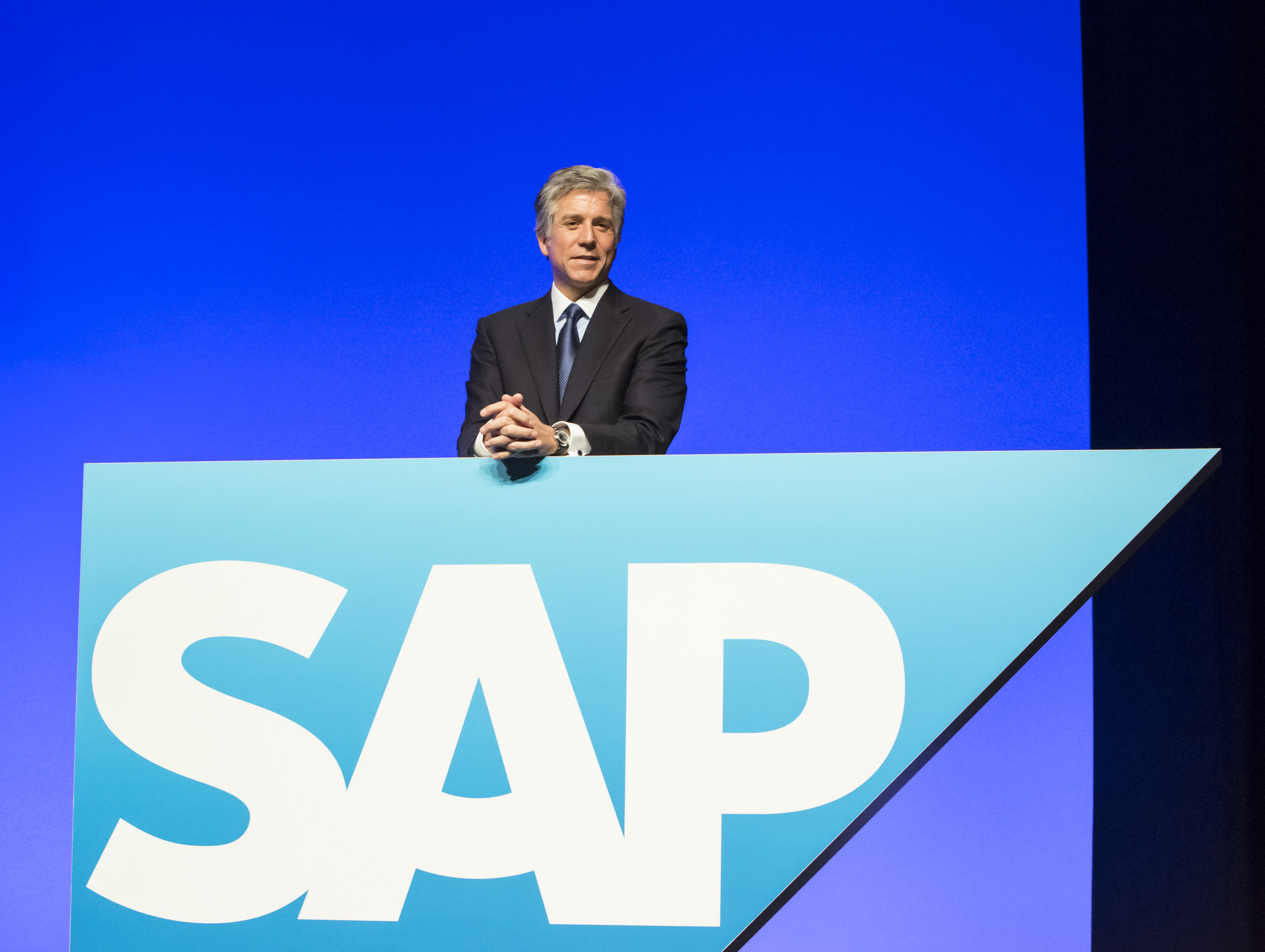 Bill McDermott, chief executive officer of SAP AG, poses for a photograph during the software company's annual general meeting in Mannheim, Germany, on May 21, 2014.