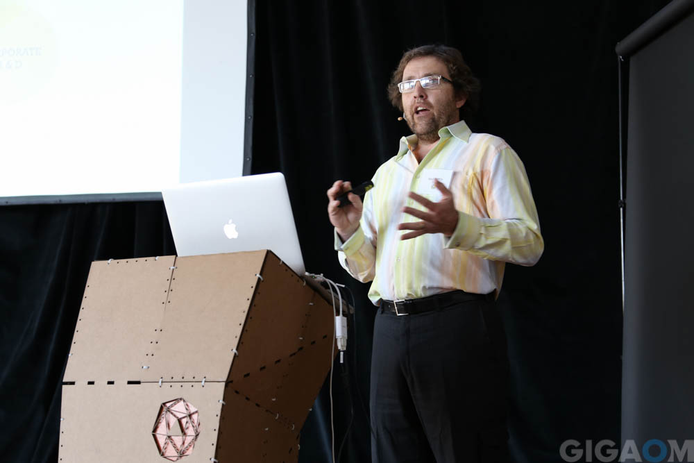 Saul Griffith presenting at Otherlab's show and tell day on January 30, 2015.