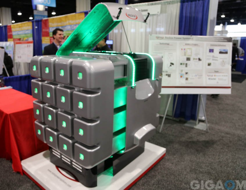 A Redox Power Systems fuel cell is shown off at the ARPA-E 2015 Summit.