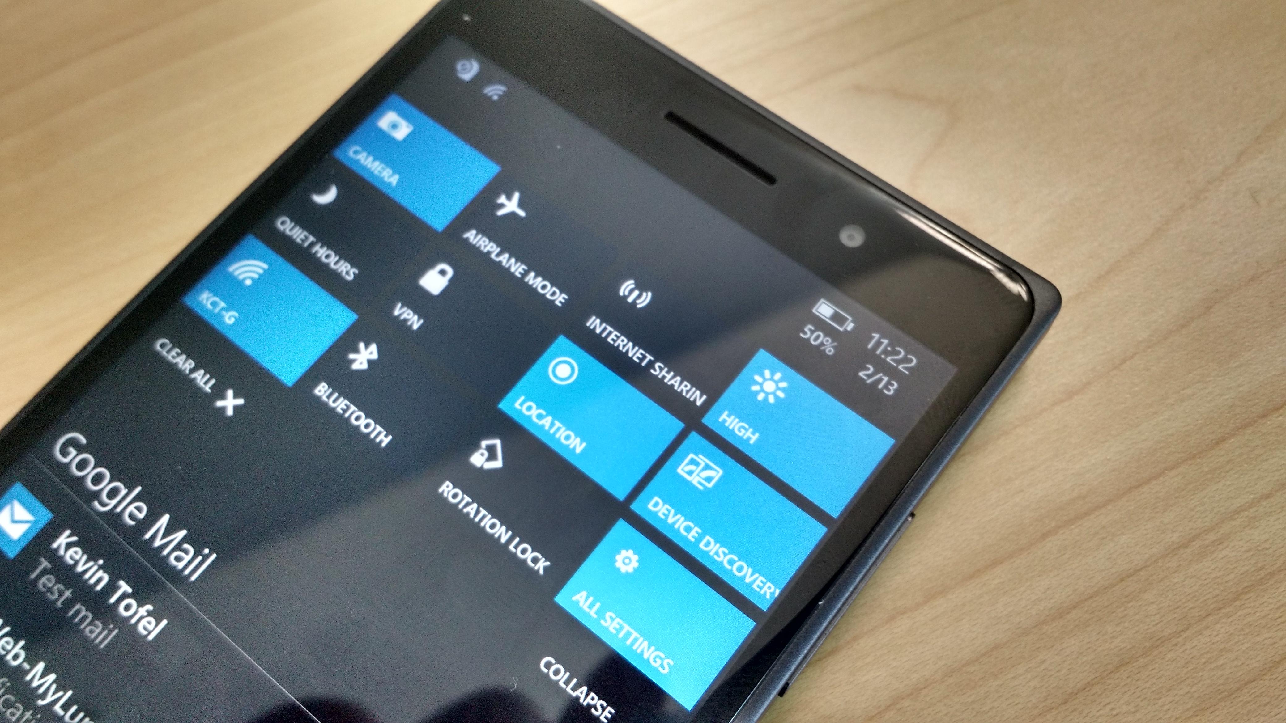 Windows 10 settings pull down