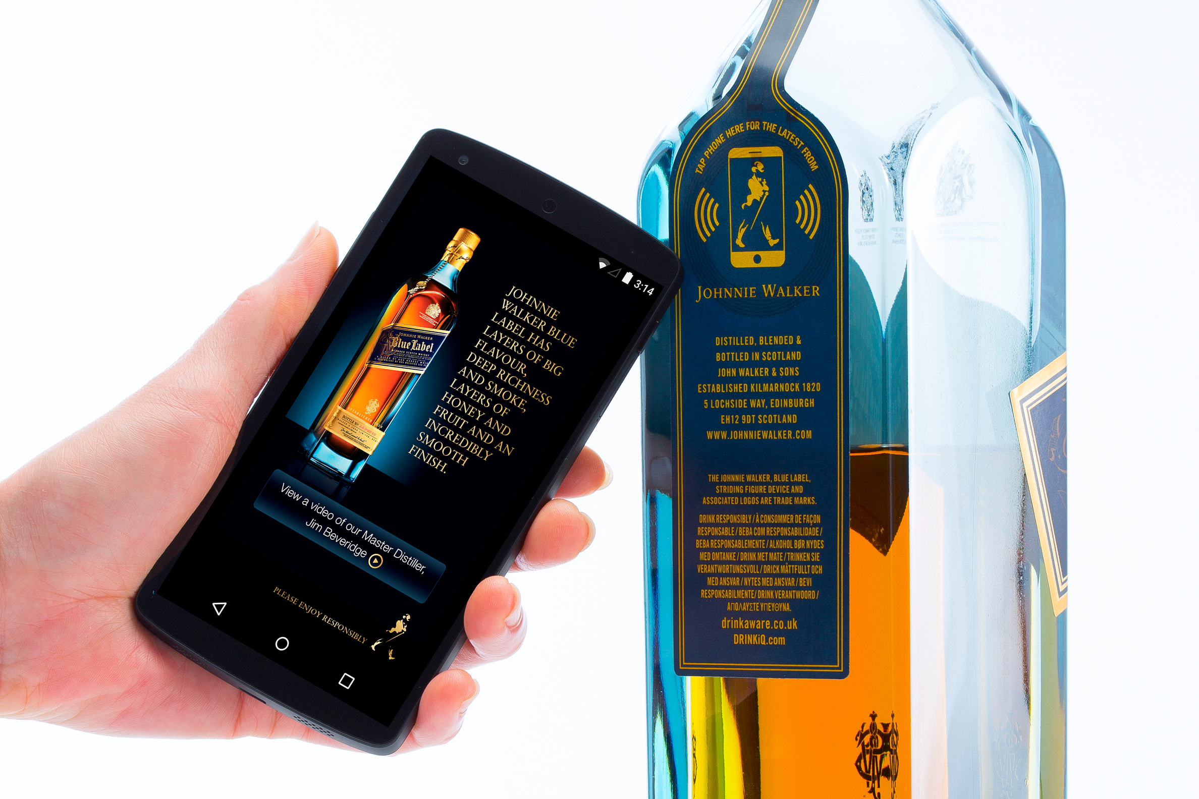 Johnnie Walker Blue Label bottle with Thinfilm's OpenSense NFC tag