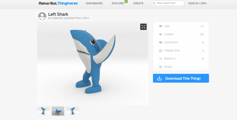 Left Shark, as it appeared Thursday on Thingiverse.