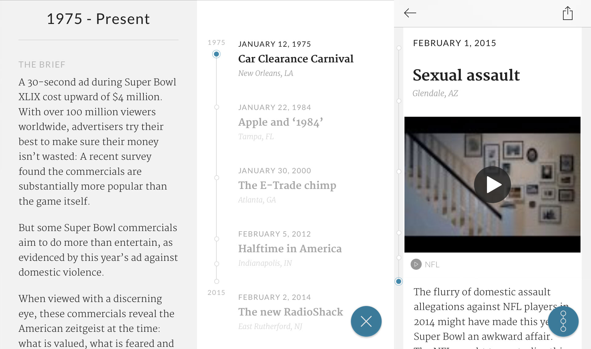 Screenshots from an individual story page in Timeline. Left: The brief topic summary; Middle: The timeline view; Right: The in-depth view