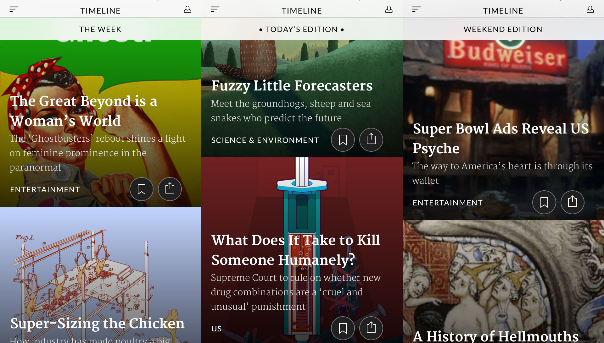 Screenshots from the homescreen of the Timeline app, where readers can scroll through the day's stories