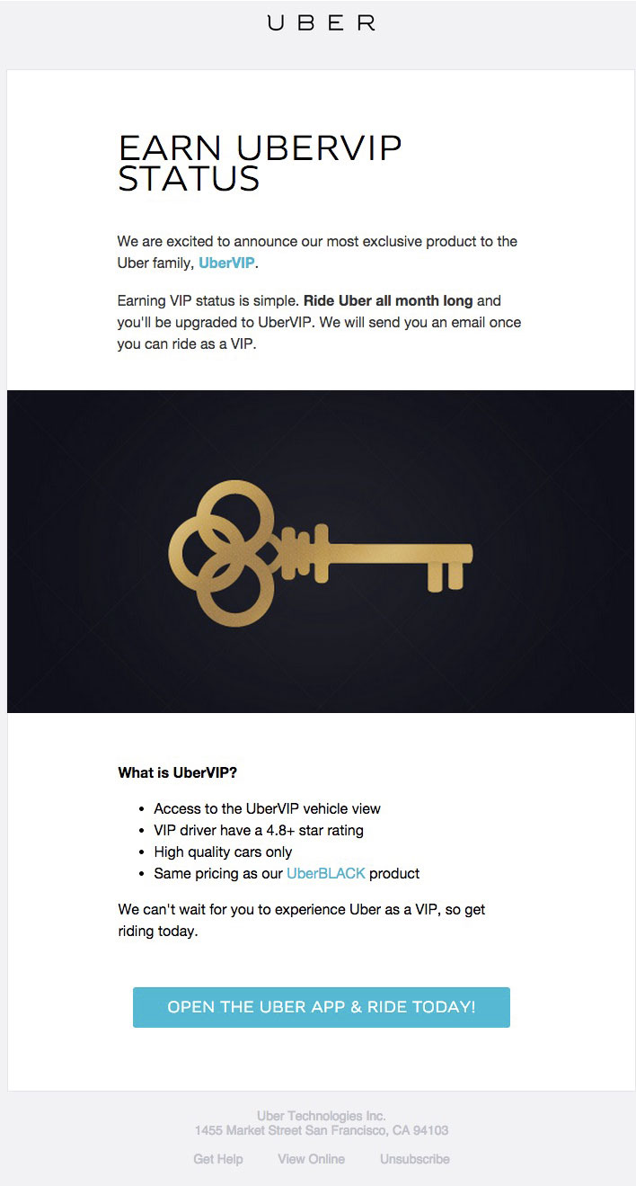 Uber's intro email for its VIP program in Denver