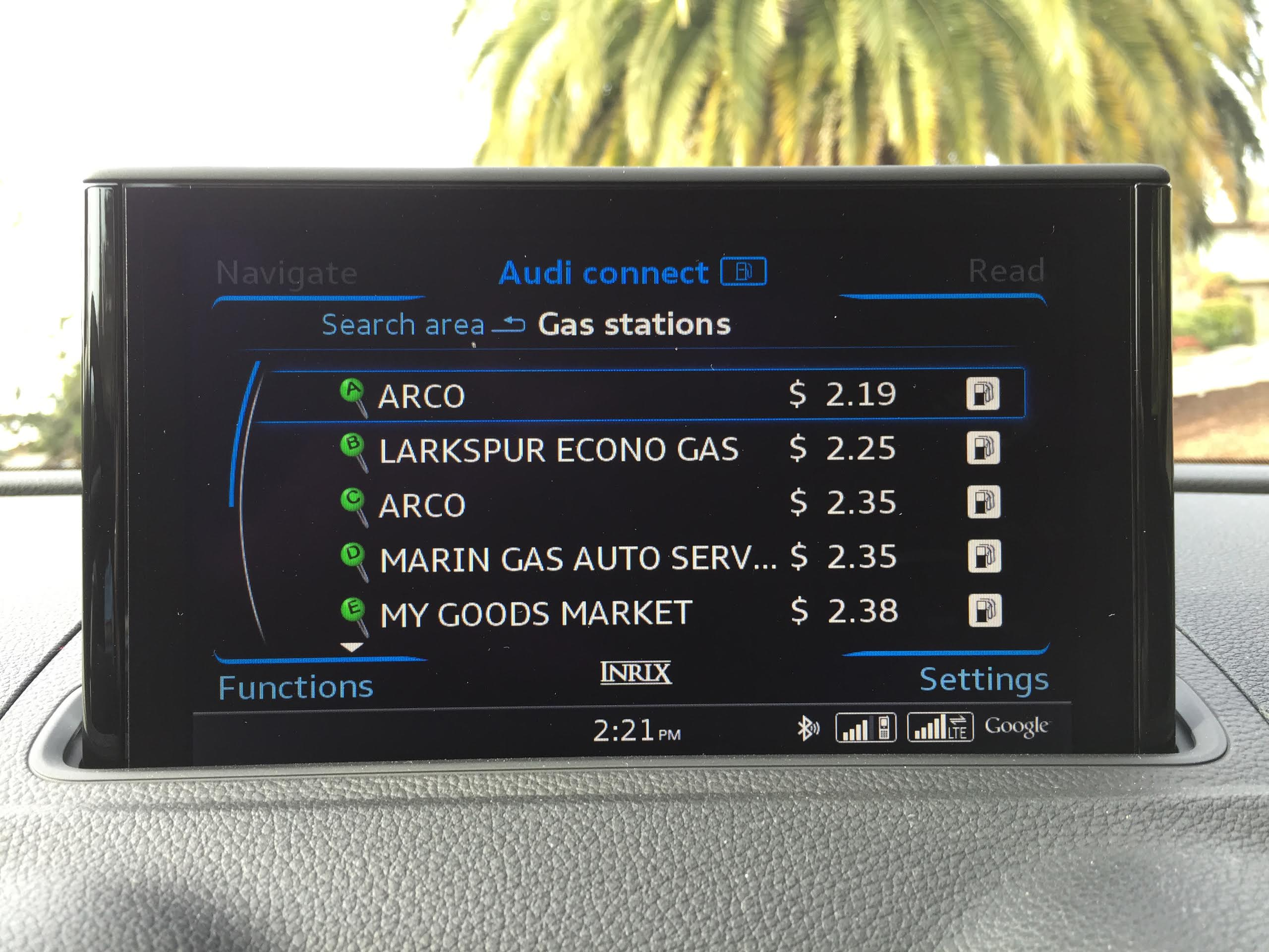 connected car gas finder Audi