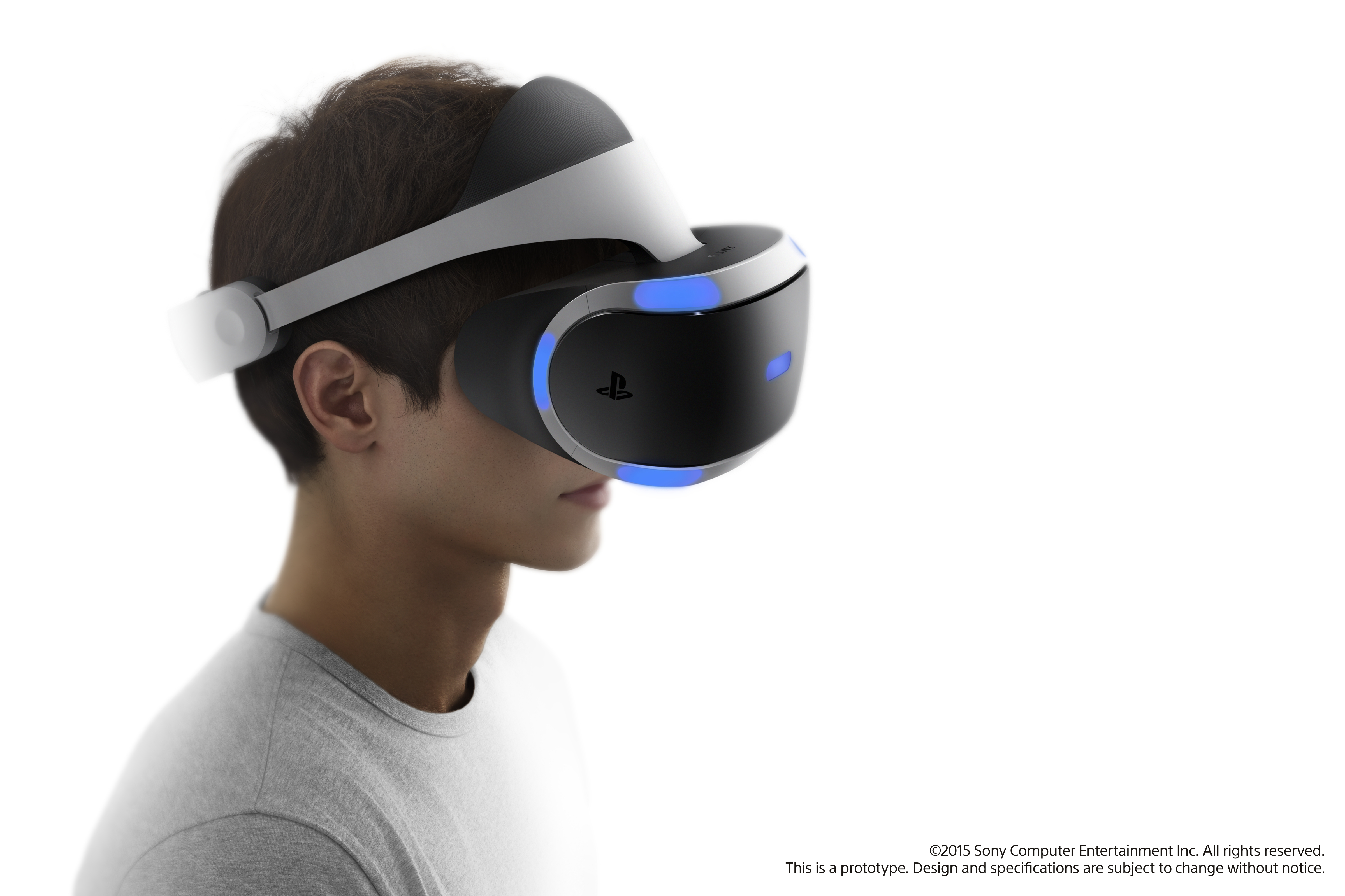 A rendering of Sony's Project Morpheus virtual reality headset, released during the 2015 GDC conference.