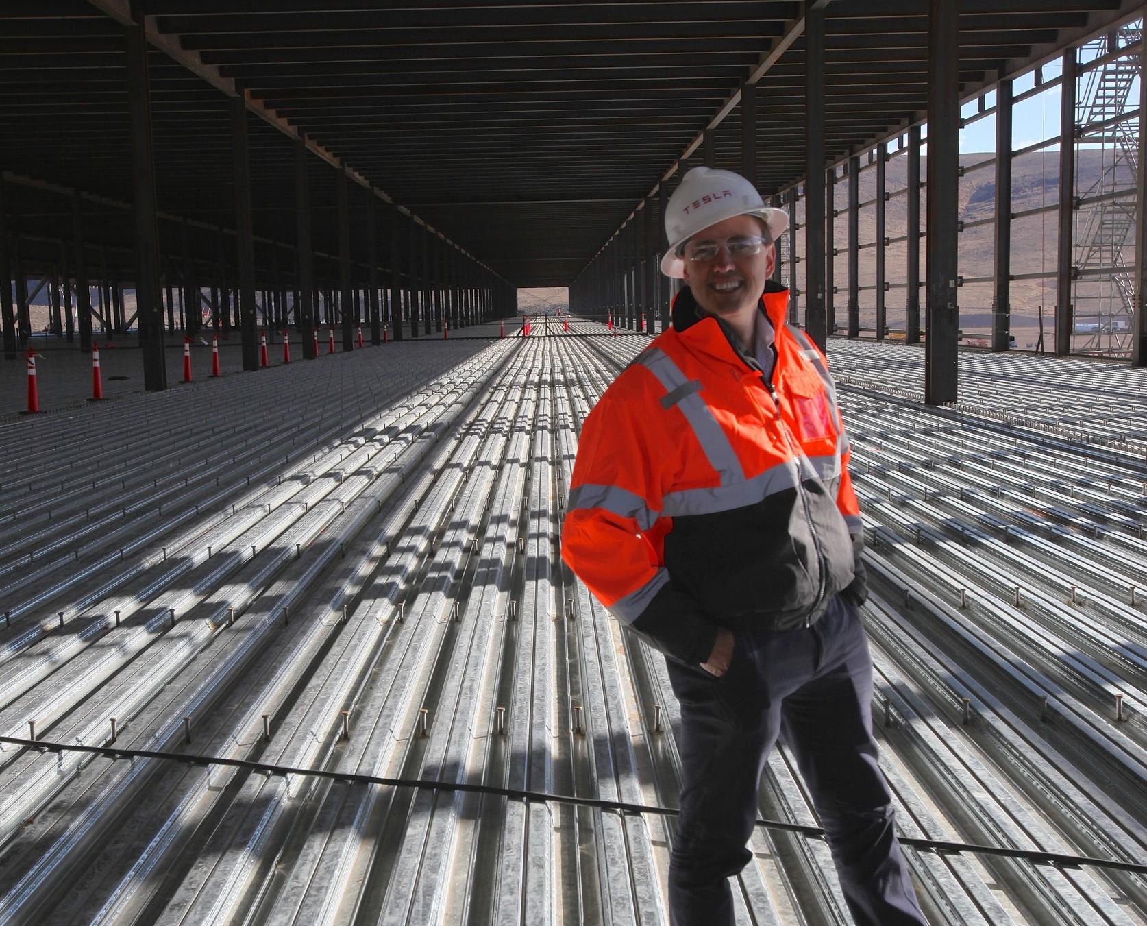 Investor Steve Jurvetson standing inside the under construction Tesla battery factory, outside of Reno, Nevada.