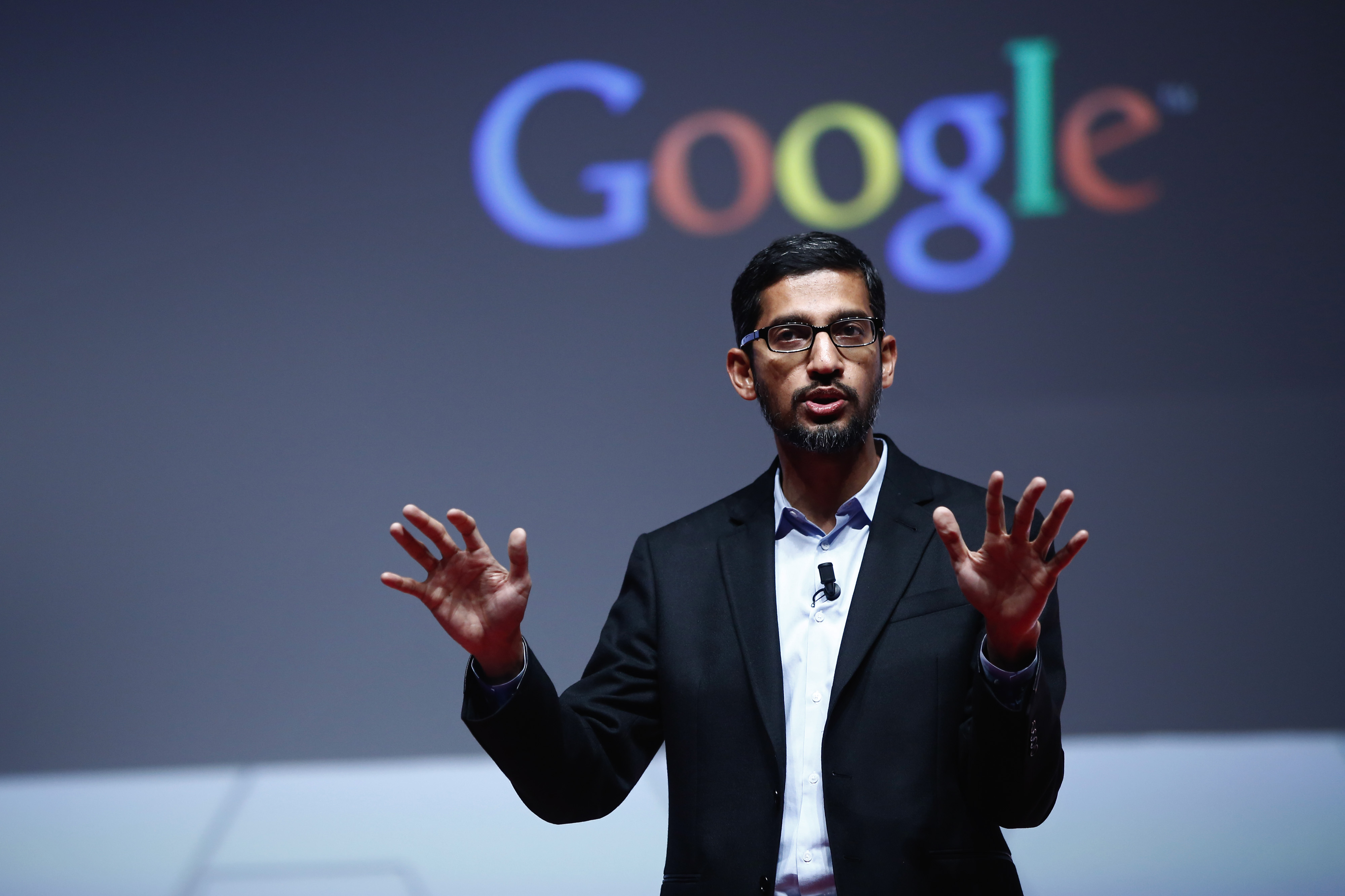 Sundar Pichai, senior vice president of Android, Chrome and Apps at Google Inc., speaks during a keynote session at the Mobile World Congress in Barcelona, Spain, on Monday, March 2, 2015.