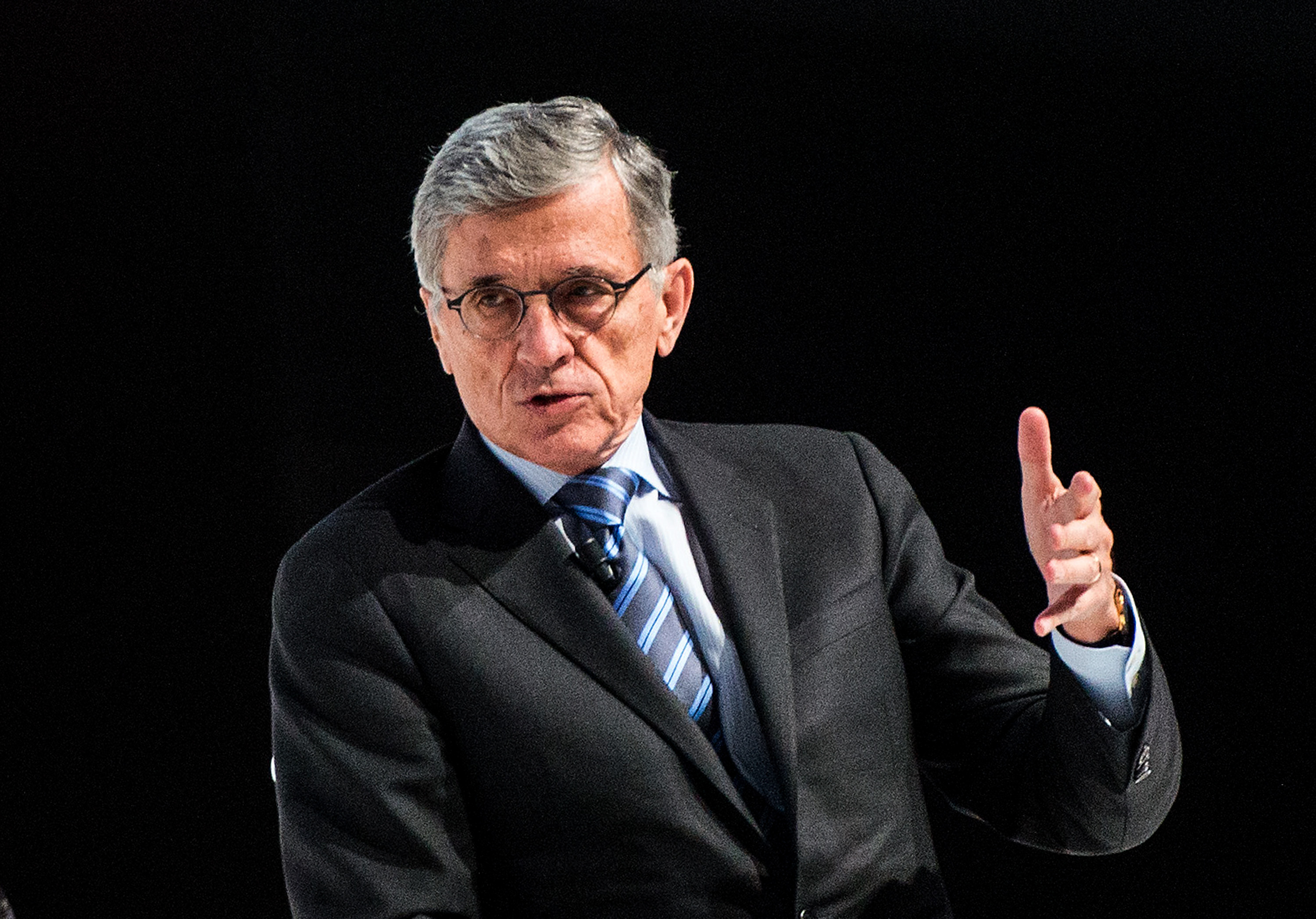 FCC Chairman Tom Wheeler speaks during his keynote conference during the second day of the Mobile World Congress 2015 at the Fira Gran Via complex on March 3, 2015 in Barcelona, Spain.